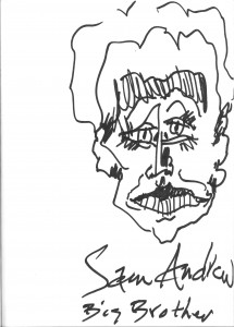 Sam Andrew, bookstore sketch