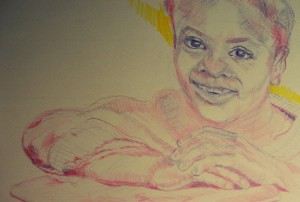 child face colored pencil
