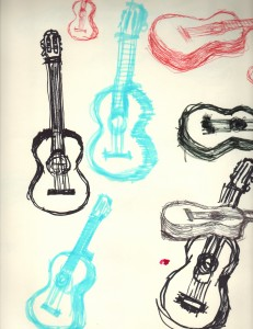 guitar drawings 2001
