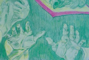 hands colored pencil