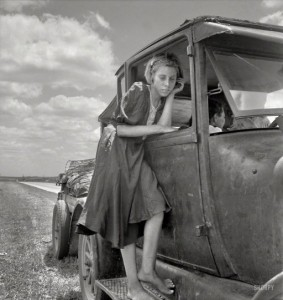girl on running board