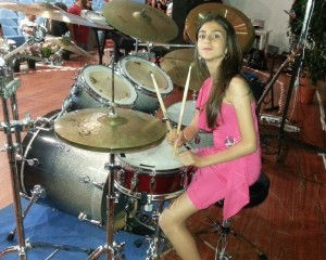 Emilia on drums